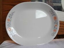 """Corelle 12"""" APRICOT GROVE OVAL PLATTER Peach Gray CORNING Dishes SERVING Meat"""