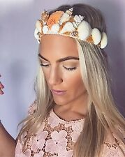 Ivory Coral Sea Shell Gold Beaded Mermaid Crown Hair Band Choochie Choo Beach