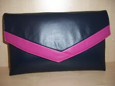 OVER SIZED NAVY BLUE & FUCHSIA PINK Faux leather envelope clutch bag UK made.