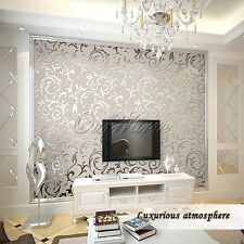 10M Silver Non-woven Luxury Embossed Victorian Wallpaper Roll Home Room Decor