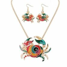 Gold Multicolor Enamel Crab Charm Pendant Women Necklace Earrings Jewelry Sets