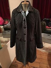 Beautiful Boden Brown Aqua Blue Spotty Dotty Satin Lined Wool Coat 12 14