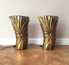Very Rare Tommaso Barbi Chapman Brass Leaf Form Uplight Lamps Hollywood Regency
