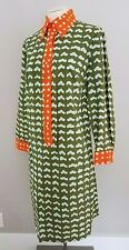 MARIMEKKO 1969 MOD VINTAGE GREEN ORANGE DRESS  SIZE M 8
