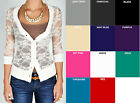 WHIMSY Floral LACE Button 3/4 Sleeve V Neck CARDIGAN Stretch S,M,L Free Shipping