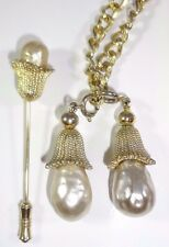 """SARAH COVENTRY 1964 """"FASHION PARADE"""" Necklace & Jabot Stick Pin FX Baroque Pearl"""