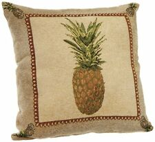 """Throw Couch Pillow Decorative Chenille Pineapple Brown Tropical Design 18x18"""""""