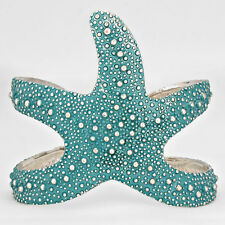 Starfish Cuff Bracelet Textured Bubble Metal TURQ Sea Life Beach Jewelry