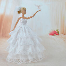 Handmade Princess Wedding Party Dress Clothes Gown With Veil For Barbie Dolls S