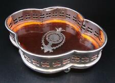 Silver Plated & Faux Tortoise Shell Regency Style Drink / Bottle Coaster