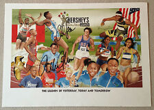 Carl Lewis Rafer Johnson Signed POSTER Hershey's Track & Field 13 x 28 Auto Sig