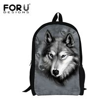 Cool Wolf Backpack Children School Fashion Shoulder Bag For Boys Rucksack-Gray