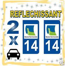 2 stickers REFLECHISSANT département 14 rétro-réfléchissant immatriculation AUTO
