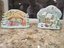 Porcelain Nativity and Winter Scenes Tea Light Holders 2 pieces Made in China