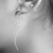 STERLING SILVER PLATED ROUND SWIRL SPIRAL LONG EARRINGS