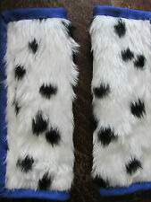 Lightly padded Faux Black Dalmatian Fur, Car Seat Belt Cover Pads. Blue Trim. X2