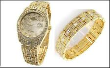 Peire Bernie 3777 Swarovski Crystal Stone Studded 'Watch & Braclet SET ': GOLD