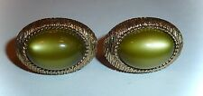 VINTAGE SWANK - GREEN MOONGLOW & TEXTURED GOLD CUFF-LINKS - UNISEX