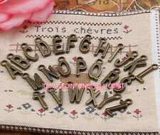 P211 26pcs Antique Bronze A-Z letter Pendant Bead Charms Accessories wholesale