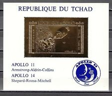 * Chad, Scott cat. 239 B. Apollo 11-14, Space GOLD foil s/sheet..
