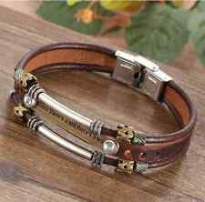Vintage Bronze Charm Rope Braided Black Leather Bracelet Cuff Bangle For Men