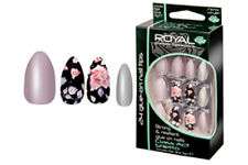 ROYAL 24 STILETTO FALSE NAILS TIPS GREY & FLOWER NAIL TIP DESIGN CLASS ACT