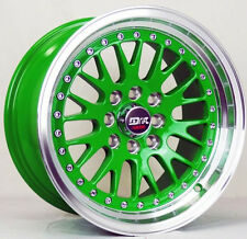 4 DRIFT DR1 WHEELS 15X8 GREEN RIMS RIM 4X100 ACURA INTEGRA HONDA ACCORD CRX J
