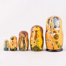 Russian Doll Matryoshka Nesting Doll Hand Painted in Russia Klimt Cats The Kiss