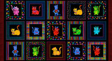 Loralie Designs Cool Cats Fabric Panel Cotton Quilting Fabric