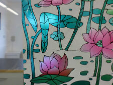 PINK FLORAL STAINED GLASS WINDOW FILM - 45cm x 1m roll