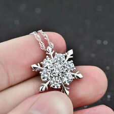 Hot Women 925 Silver Plated Crystal Frozen Snowflake Rhinestone Pendant Necklace