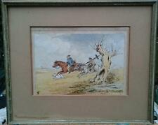 LOVELY WATERCOLOUR OF HORSE RIDERS WITH BULLDOG & CHIMNEY SWEEP. SIGNED ?? 1873