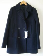 NWT UNIQLO Navy Blue Water Repellent Wool Pea Coat M 8/10 $130