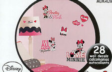 MINNIE MOUSE Loves Pink wall stickers 28 decals Disney room decor hearts bows