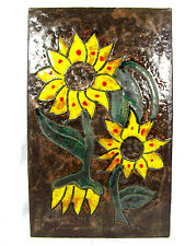 Beautiful 70´s design Ruscha CERAMICA Wall Plaque 767 yellow flowers 37 x 23