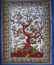 BLUE WHITE RED cotton TREE OF LIFE XL SOFA KING BED COVER BEDSPREAD THROW SPREAD