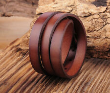 SA06 3 Wrap Coffee Surfer mens Long Leather Wristband Bracelet Bangle
