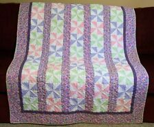Handmade Quilt Pastel Pinwheels Professionally Longarm Quilted Crib/Throw Size