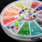 12 Colors 3D Nail Art Multicolor Illusion Glitter Rhinestone +Wheel #S186