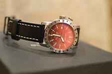 Mint Condition Glycine Airman Double Twelve 40mm Red Degrade Dial Aviation Watch