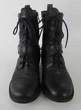 Lucky Brand Nolan Black Leather Lace On Zip Ankle Boots Womens 10 M  40 Combat