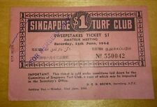 #4 Red Singapore $1 1964 Turf Club Sweep Ticket   新加坡赛马公会