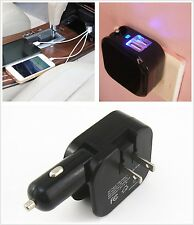 Car 2 USB Ports DC Cigarette Charger &US Home Wall AC Adapter Plug Folding Blade