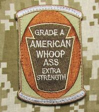 CAN OF AMERICAN WHOOP ASS US ARMY USA MILITARY DESERT VELCRO BADGE MORALE PATCH