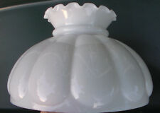 "10"" Fitter Milk Glass Student Kerosene Oil Banquet White Crimped Top Lamp Shade"