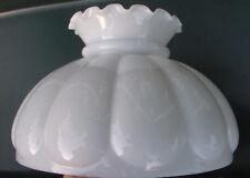 "10"" Fitter Milk Glass Student Kerosene Oil Banquet White Crimped Top Lamp Shade"