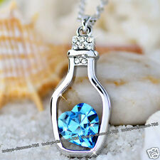 Blue Crystal Heart Necklace Love Bottle Present Gifts For Her Wife Mother Women
