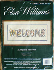 """JCA / Elsa Williams """"Flowering Welcome"""" Counted Cross Stitch Kit 20"""" x 8"""""""
