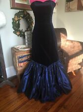 VTG 80s LAURA ASHLEY GR8 BRITAIN 12 MERMAID WIGGLE GOWN STUNNING BLUE Prom