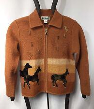 Lisa International Women's HORSE Pony Jacket Sweater Sz M Medium Wool Brown
